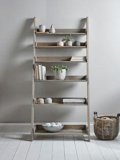 Rustic Wooden Ladder Shelf - Wide