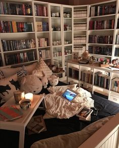 Home Library Rooms, Library Bedroom, Home Library Design, Home Libraries, Room Ideas Bedroom, Dream Home Design, House Rooms, Bedroom Decor, Bookshelf Inspiration