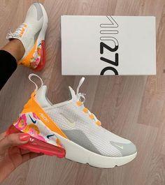 "Nike Air Max 270 SE ""White Floral Orange"" Link in Organic to shop The perfume . Cute Nike Shoes, Cute Nikes, Nike Air Shoes, Shoes Sport, Nike Air Max, Air Max 93, Summer Sneakers, Air Max Sneakers, Shoes Sneakers"