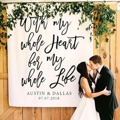 size wedding photos Rustic Wedding Backdrop, With My Whole Heart For My Whole Life Wedding Decoration, Wedding Photo Booth, Photo Backdrop, Reception Backdrop Wedding Ceremony Ideas, Rustic Wedding Backdrops, Wedding Reception Backdrop, Wedding Photo Booth, Wedding Centerpieces, Wedding Events, Wedding Photos, Wedding Decorations, Wedding Day