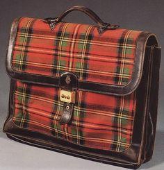 The Duke of Windsor's Hermes Plaid Satchel. Christmas gift in 1941 from Wallis Simpson, Duchess of Windsor.