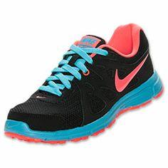 Women's Nike Revolution 2 Running Shoes| FinishLine.com | Black/Gamma Blue/Atomic Red