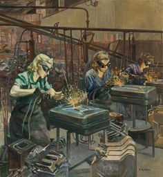 Women Welders at Williams & Williams, Chester by Ethel Leontine Gabain - Oil on canvas, 100.5 x 94 cm,  Collection: Grosvenor Museum