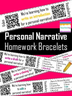 Personal Narrative Homework Bracelets with QR codes! Prepare students for the next day's writing lesson with these QR code bracelets. The QR codes link students to videos about the narrative writing process and vocabulary activities!