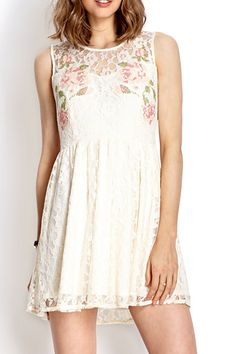 Floral Sleeveless Lace Dress