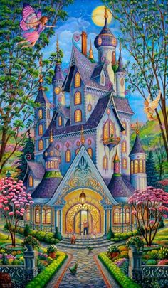 Enter a magical land with the Springtime Splendor wallpaper mural by Randal Spangler. An ornate and colorful castle takes up the majority of this enchanted scene. Free US Shipping! Art Painting, Fantasy Art, Spangler, Painting, Whimsical Art, Fantasy Landscape, Cottage Art, Art, Murals Your Way