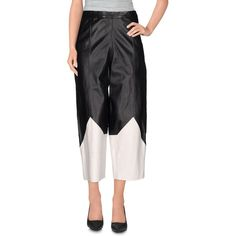 Luxury Fashion 3/4-length Trousers ($265) ❤ liked on Polyvore featuring pants, black, high-waisted trousers, leather pants, high-waisted leather pants, high-waisted pants and tapered leg pants