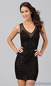 Buy Short Sleeveless V-Neck Dress at SimplyDresses