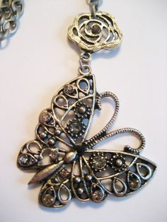 SALE  Antique Silver Butterfly Necklace by PiecesDeResistance, $12.50
