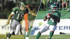 Saskatchewan Roughriders quarterback Darian Durant and kicker Chris Milo have each been named CFL Gibson's Finest Players of the Month for August. Saskatchewan Roughriders, Canadian Football League, Adam Jones, Kobe Shoes, Football Helmets, Names, Sports, Fan, Sport
