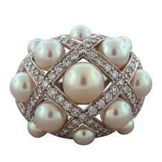 1stdibs - CHANEL Matelasse Pearl Diamond Gold Ring explore items from 1,700  global dealers at 1stdibs.com