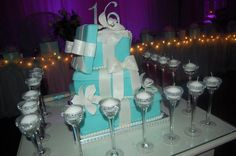 Tiffany Theme Sweet 16 - by PartyCakesByJoAnn @ CakesDecor.com - cake decorating website