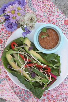 Raw Veggie Chard Wrap with Ancho Chili Dip