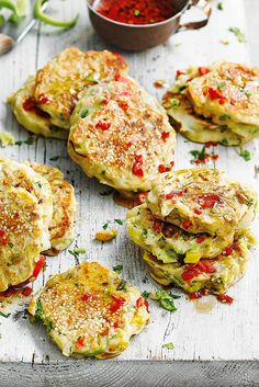 These easy, savoury pancakes pair the mellow sweetness of leeks with some punchy chilli heat – served with an Asian dipping sauce, they're delicious as a quick snack or light lunch. | Tesco