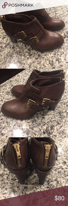 J Crew Ankle Boots In like new condition. Gorgeous brown leather boots. J. Crew Shoes Heeled Boots