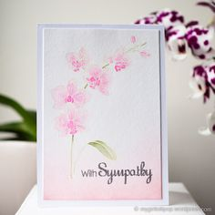 Orchid; stamp layering; layered stamping; pink; pastel; sympathy; large flowers