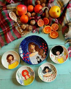 Painted Ceramic Plates, Hand Painted Pottery, Ceramic Painting, Ceramic Art, Pottery Painting Designs, Pottery Designs, Pottery Art, Decoupage Plates, Cubist Art