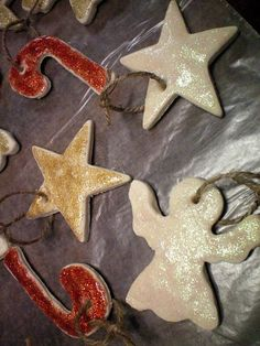 Salt dough ornaments. We made this for family night and had a  great time making them. We will probably be making these ornaments each year. I liked that it wasn't an overly huge amount of dough either. Just the right amount for us.