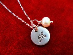 Initial Necklace Hand Stamped Sterling Silver by OohSoCharming, $22.00
