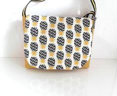 Sac bandoulière réglable sac à main besace sac coton ananas sac simili cuir jaune moutarde besace cadeau fête des mères