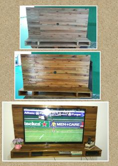 Painel de TV feito com pallets. Acabamento em verniz. #homedecor #pallets #reciclandopallets #façavocemesmo Pallet Projects, Woodworking Projects, Diy Projects, Living Room Wall Units, Pallet Building, Tv Rack, Diy Flooring, Wall Mounted Tv, Pallet Furniture