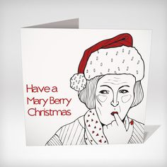 Mary Berry - Great British Bake Off Christmas Card 'Have a Mary Berry Christmas' Size 5x5. Great British Bake of themed Christmas Card.