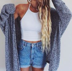 White Crop top, high waisted shorts, cardigan