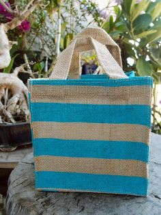 Jute Plant Tote Bag x x - Blue Stripes Jute Tote Bags, Burlap Bags, Burlap Fabric, Reusable Tote Bags, Wholesale Tote Bags, Lace Decor, Floral Supplies, Beaded Trim, Red Stripes