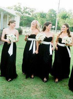 black BHLDN bridesmaids dresses