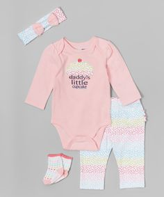 Love this Pink 'Daddy's Little Cupcake' Bodysuit Set - Infant by Vitamins Baby on #zulily! #zulilyfinds