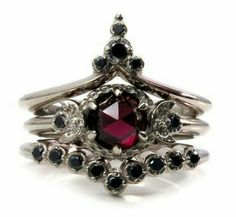 Chapel of the Harvest Moon - Rose Cut Garnet and Black Diamond Gothic Moon Phase Engagement Ring Set