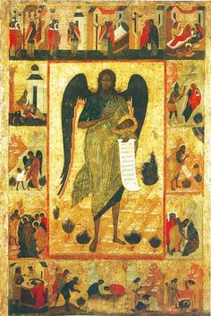 St John the Baptist—Angel of the Wilderness with Scenes from His Life Orthodox Catholic, Eritrean, Byzantine Art, John The Baptist, Religious Icons, Orthodox Icons, Persian, Oriental, Saints
