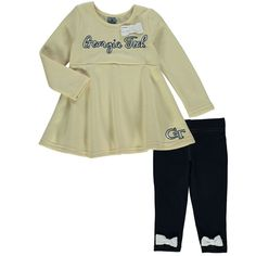Georgia Tech Yellow Jackets Colosseum Girls Infant Fetch Dress & Leggings Set - Heathered Gold/Navy - $39.99