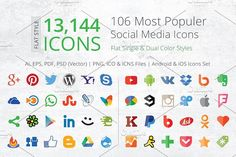 212 Flat Social Media Icons by ArtFusion on @creativemarket