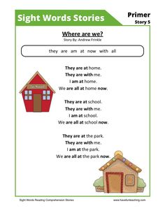This Reading Comprehension Worksheet - Where are we? is for teaching reading comprehension. Use this reading comprehension story to teach reading comprehension.