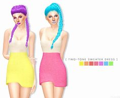 TWO-TONE SWEATER DRESS at Leeloo via Sims 4 Updates