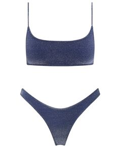 Shiny nylon spandex bikini in midnight blue lurex with matching high waist bottom. Top size is Small. Normal bottom for a little more coverage. Bottom size is Small. Vintage Swimsuits, Women Swimsuits, Bikini Vintage, Nylons, Looks Party, Strappy Crop Top, Blue Bikini, Bandeau Bikini, Bikini Girls