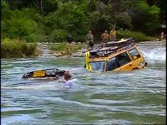 This scene in the camel trophy movie is so awesome. They literally plug the intakes and exhaust and dump the rovers into the river and pull them across with a tow rope. Then they open the doors and empty all the water out..