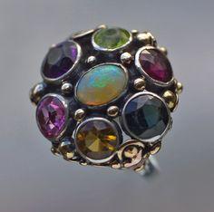 Arts & Crafts Ring   Gold Silver Opal Tourmaline Peridot Citrine Garnet  British, c.1930