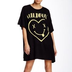 WILDFOX Teen Spirit Barefoot Tee Dress NWT WILDFOX Teen Spirit Barefoot Tee Dress. Super soft and adorable. Size medium but could fit other sizes depending on how you you want it to fit. Can be worn as a longer t shirt or as a t shirt dress. Looks great by itself or with leggings. Wildfox Dresses