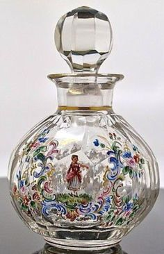 Enameled glass perfume bottle