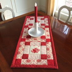 Red & Creamy White Quilted Table Runner - Valentines Day, Country French, Moda, reversible by seaquilt on Etsy https://www.etsy.com/listing/265896311/red-creamy-white-quilted-table-runner