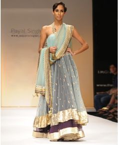 "Sea Blue Lengha w/ Purple Net Skirt By Payal Singhal"" - I wish I had this for my brother's wedding.  So pretty!"