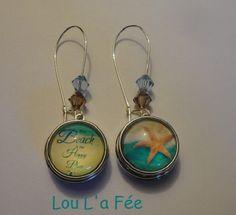 boucles d'oreilles boutons-pression étoile de mer/plage,18 mm, grandes dormeuses : Boucles d'oreille par lou-l-a-fee-creations-bijoux-fantaisie