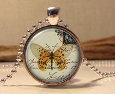 Butterfly on vintage postcard necklace. Orange Butterfly art pendant jewelry.