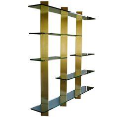 1stdibs   70's Custom brass & glass floating wall unit