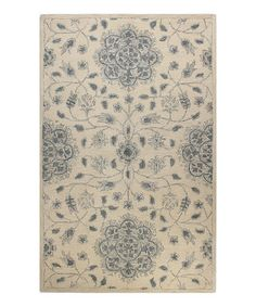 This Ivory & Blue Floral Wool Rug by Bashian is perfect! #zulilyfinds
