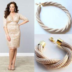 Pezsgő színű kötél ékszerek / Champagne rope jewelry