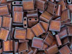 Miyuki 5mm Metallic Matte Copper Rainbow Tila Square Tube Bead 8g Pack