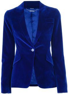 Alexander Mcqueen Blue Velvet Blazer
